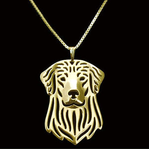 Gold Plated Golden Retriever Chain Pendant Necklace
