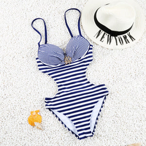 White/Navy Striped One Piece Swimsuit