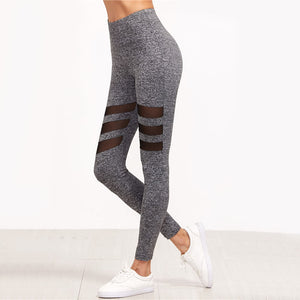 Three Mesh Insert Casual Leggings
