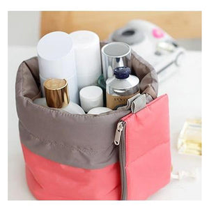 Barrel Shaped Travel Cosmetic Makeup Bag