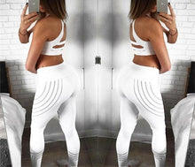 White Four-Striped Stitching Fitness Leggings