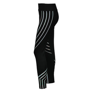 Black Reflective Four-Striped Stitching Fitness Leggings