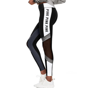 Pink Letter Print Workout Leggings