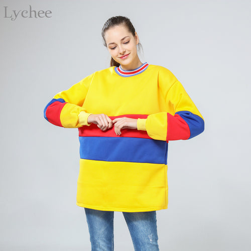 Long Sleeve Stripe Collar Pullover Sweatshirt