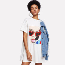 Short Sleeve Drop Shoulder Summer Print Tee