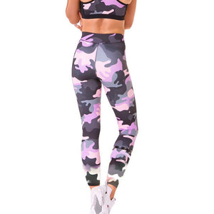 Pink Camouflage High Waist  Leggings