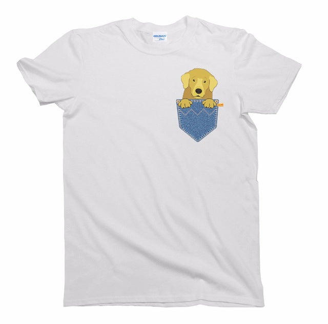 Funny Golden Retriever Pocket T-Shirt - Unisex
