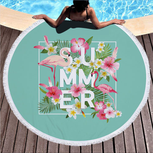 Summer Flamingo - Round Beach Towel w/ Tassels