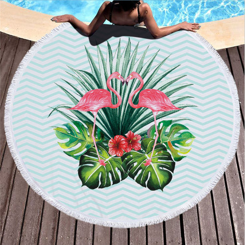 Loving Flamingos - Round Beach Towel w/ Tassels