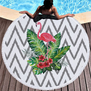 Patterned Flamingo - Round Beach Towel w/ Tassels