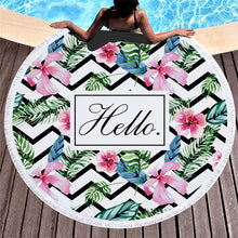 Hello Pattern - Round Beach Towel w/ Tassels
