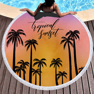 Tropical Sunset Pattern - Round Beach Towel w/ Tassels