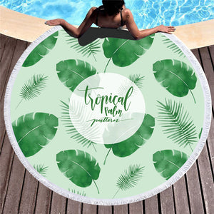 Tropical Palm Pattern - Round Beach Towel w/ Tassels