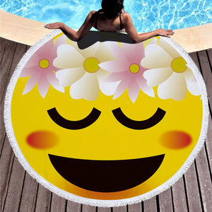 Flower Girl Emoji - Round Beach Towel w/ Tassels