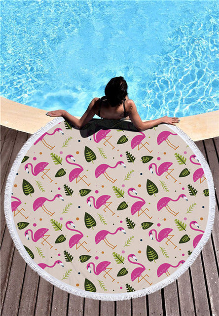 Beach Flamingo - Round Beach Towel w/ Tassels