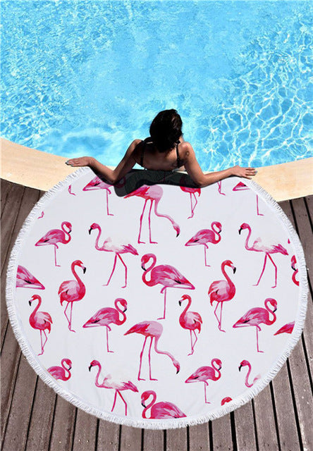 Flock of Flamingos - Round Beach Towel w/ Tassels