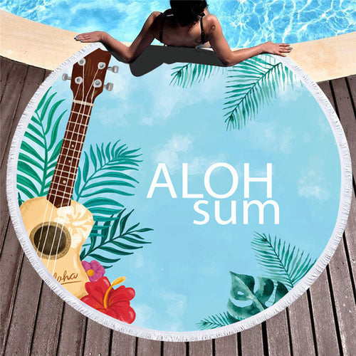 Aloha Summer Pattern - Round Beach Towel w/ Tassels