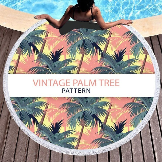Vintage Palm Tree - Round Beach Towel w/ Tassels