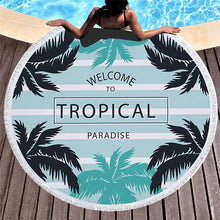 Welcome to Tropical Paradise Pattern - Round Beach Towel w/ Tassels