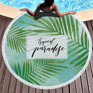 Tropical Paradise Pattern - Round Beach Towel w/ Tassels