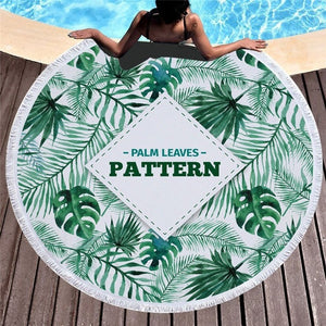 Palm Leaves - Round Beach Towel w/ Tassels