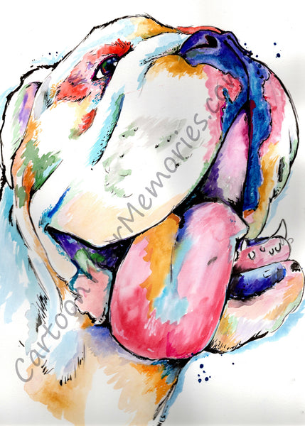 Bulldog watercolor print