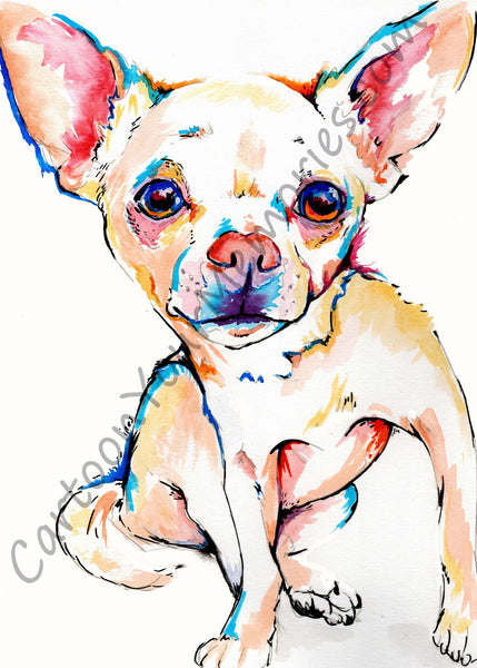Chihuahua watercolor print