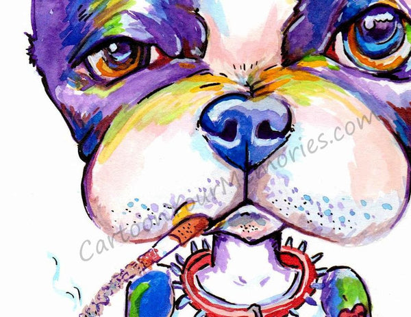 Boston Terrier the Bad Dog watercolor print