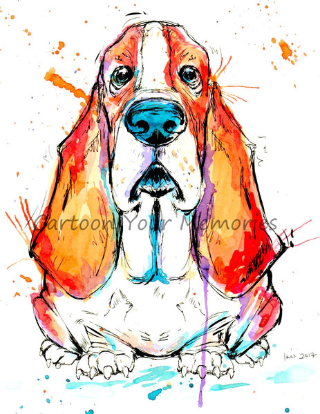 basset hound watercolor print