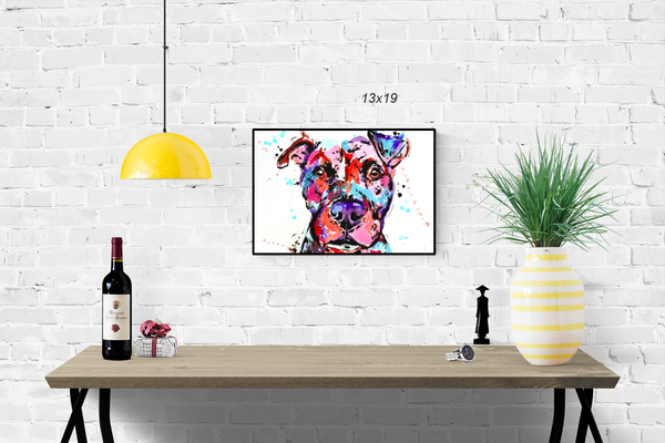 pitbull watercolor print