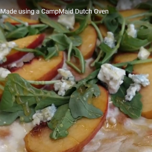 Peach & Honey Pizza with Arugula & Blue Cheese