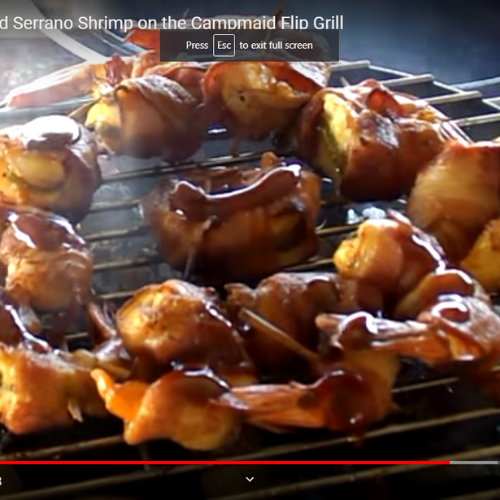 Bacon Wrapped Smoked Serrano Shrimp on CampMaid Flip Grill