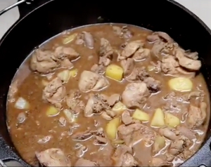 Chicken Adobo with Potatoes and Pineapple - Dutch Oven