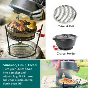 "8-Piece Dutch Oven Set With 12"" Dutch Oven Without Legs & All Tools"