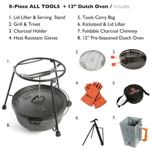 "8-Piece Dutch Oven Set With 12"" Dutch Oven & All Tools"