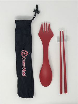 Camping Multi-Purpose Utensil Set of 4 with Carry Bags