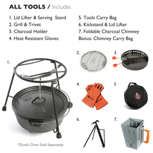 7-Piece Dutch Oven Tools Set (All CampMaid Tools)