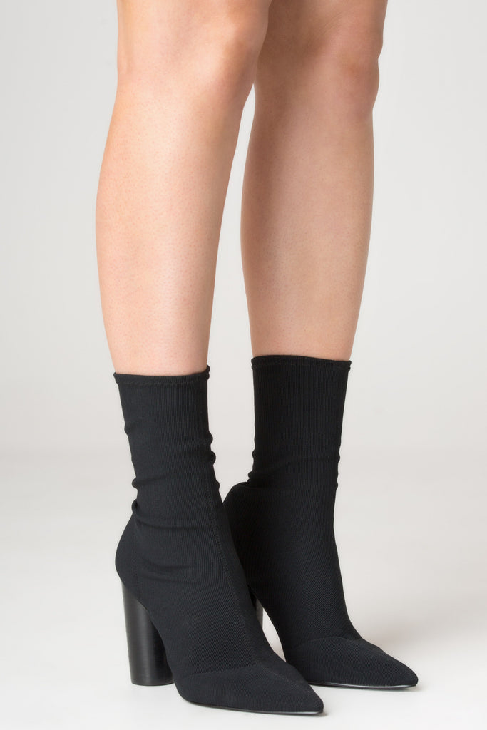 RIBBED SOCK BOOT black