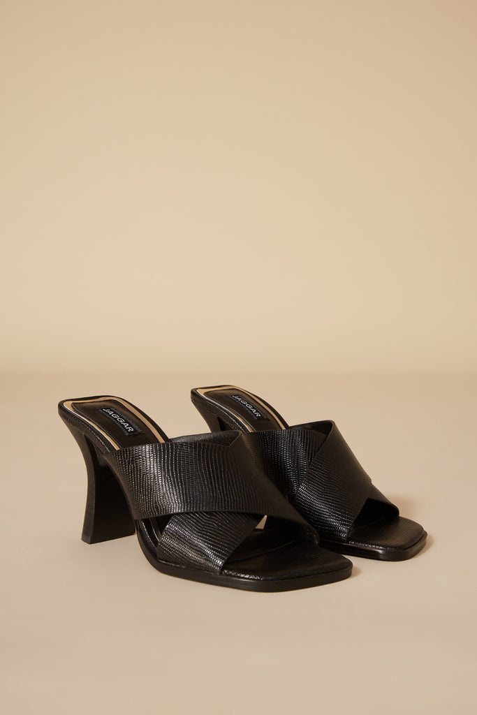 CROSSED LIZARD HEEL black