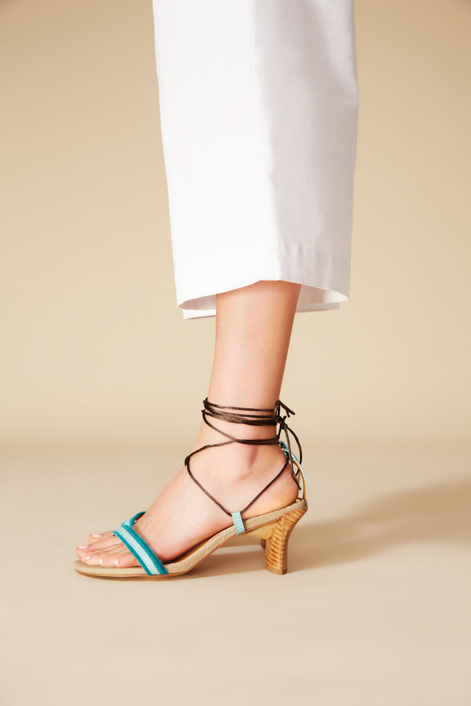 LACED HEEL turquoise