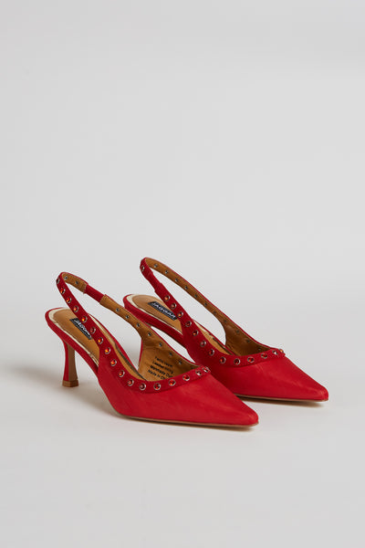 JEWELED SLINGBACK HEEL scarlet
