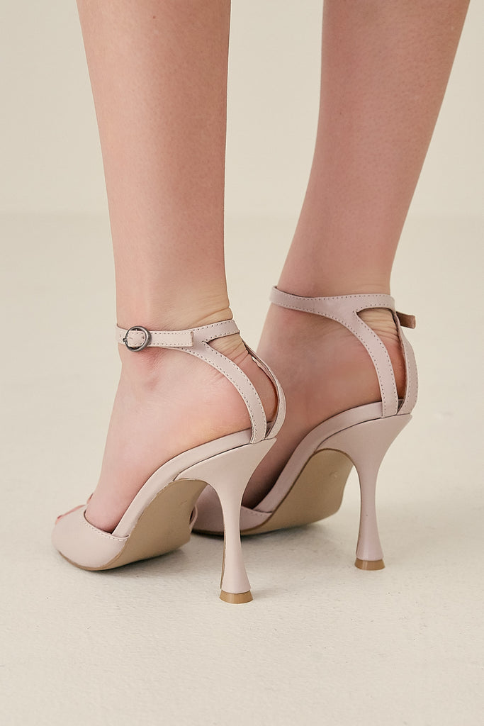 HOURGLASS LEATHER HEEL oyster pink