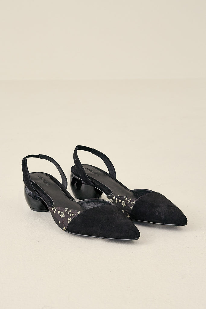 SLING SUEDE PUMP black