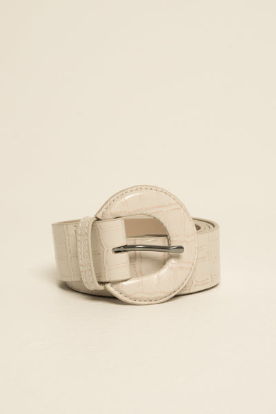 BUCKLE BELT CROC cream