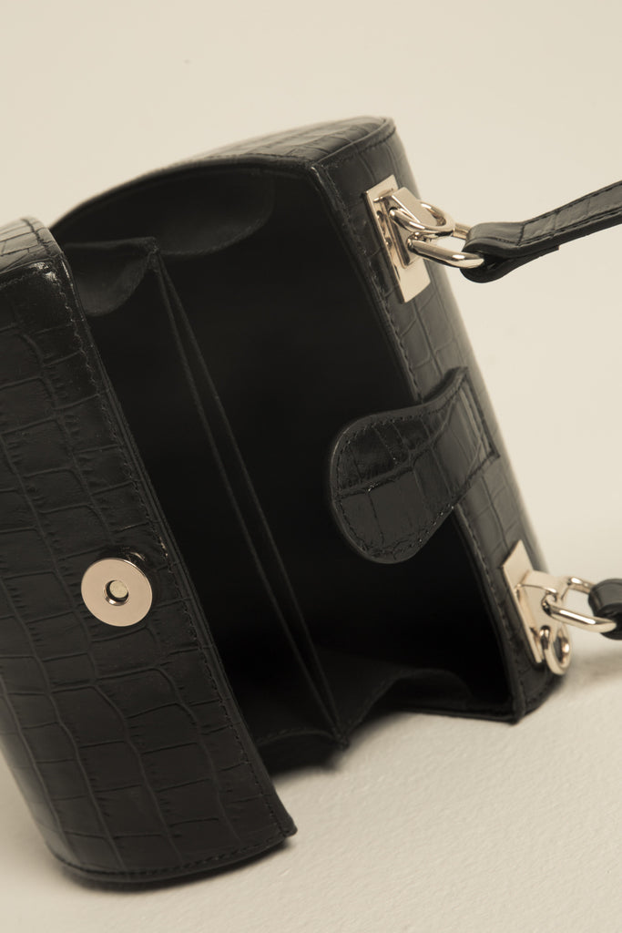CYLINDER BAG CROCODILE black