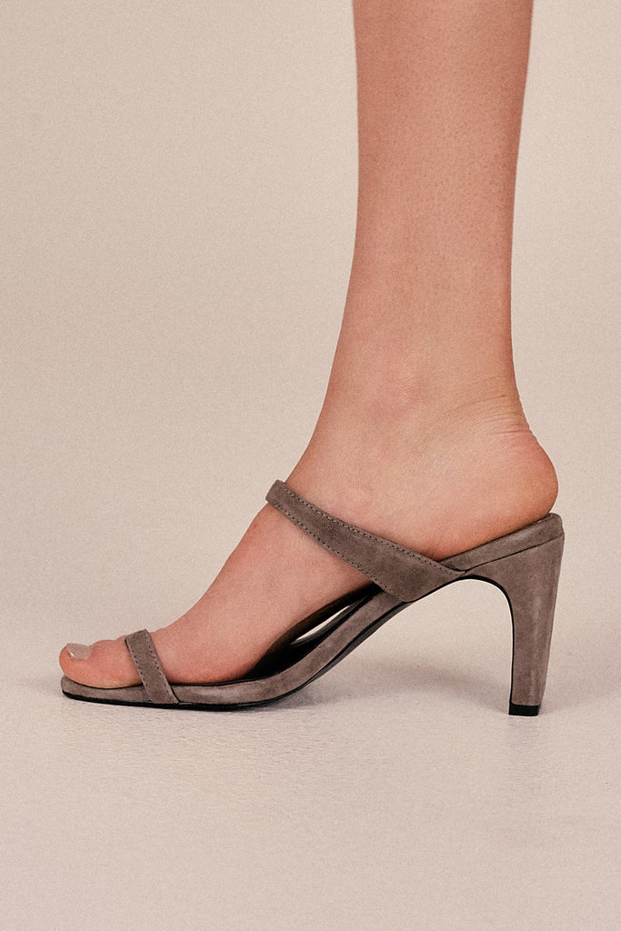 CONTEMPORARY SUEDE HEEL gravel