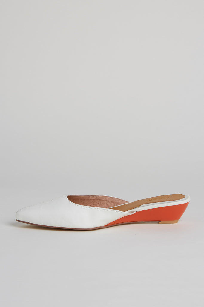 BIJOU LEATHER WEDGE ivory
