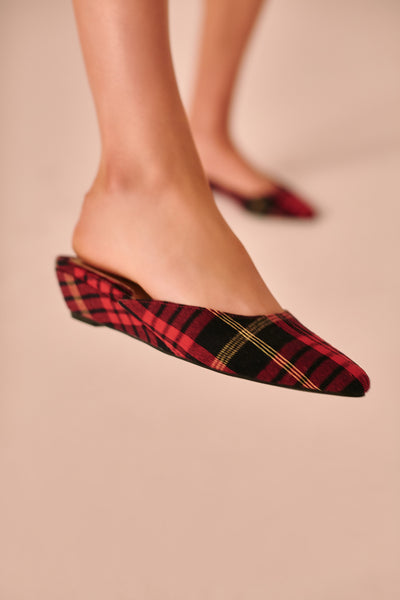 BIJOU PLAID WEDGE rose