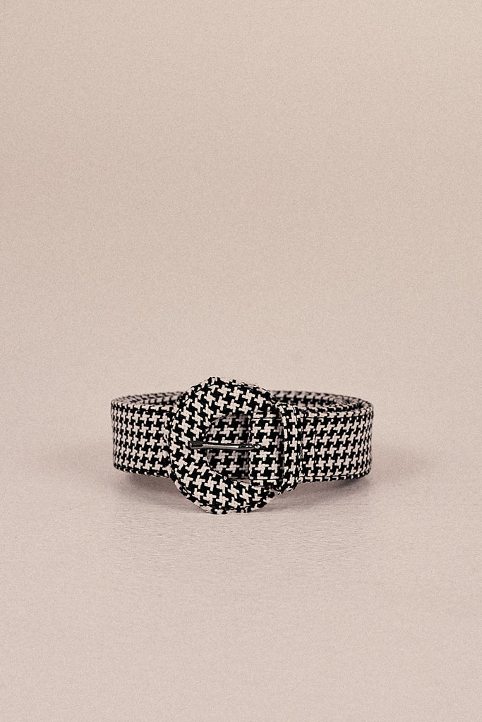 BUCKLE BELT HOUNDSTOOTH black