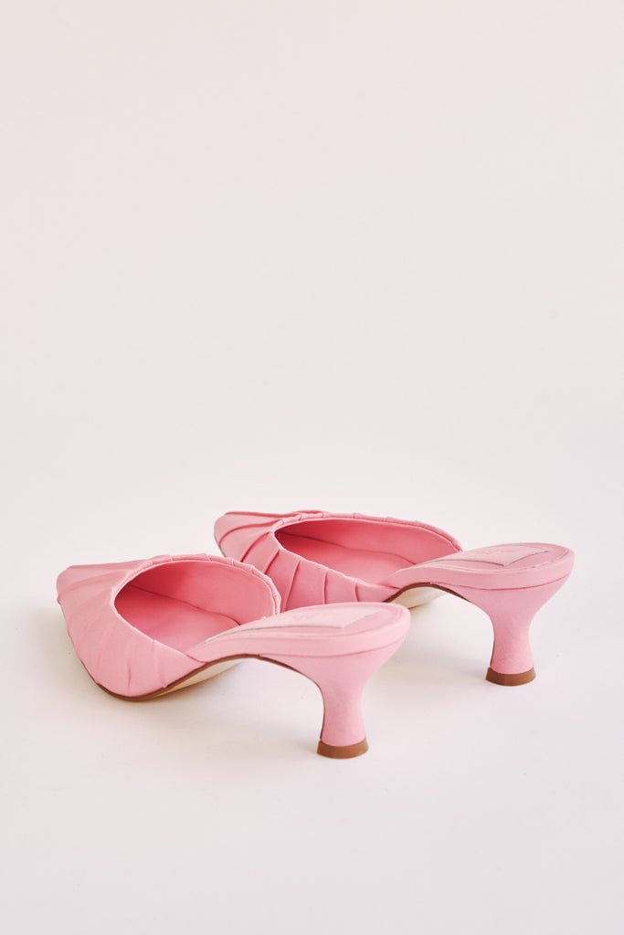 RUCHED KITTEN HEEL candy pink
